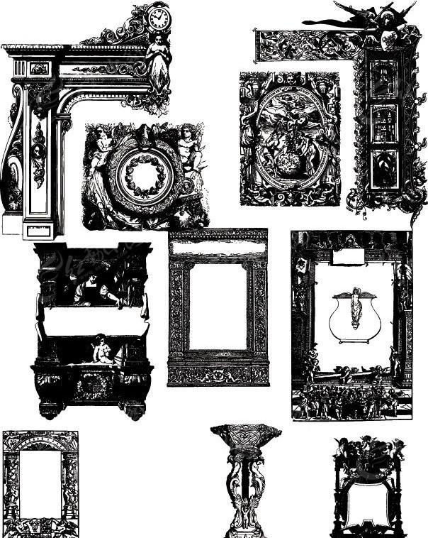 欧式古典雕刻边框相框图片
