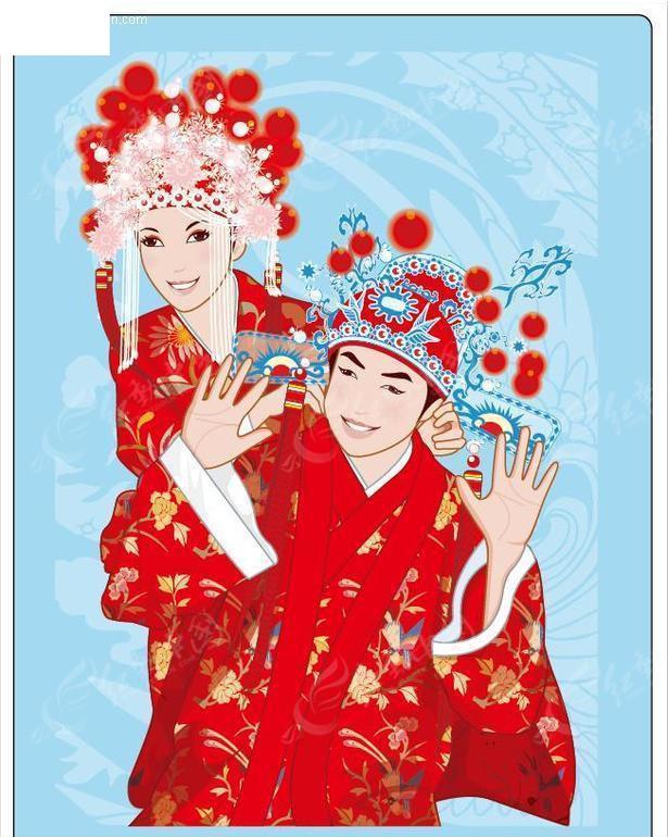 开心的中国古装新郎新娘矢量文件