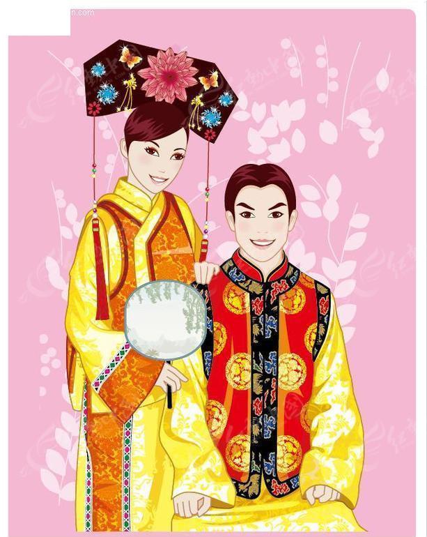 中国传统新郎新娘矢量文件
