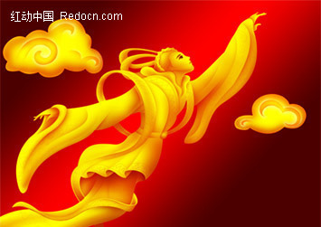 金色飞天仙女_传统图案