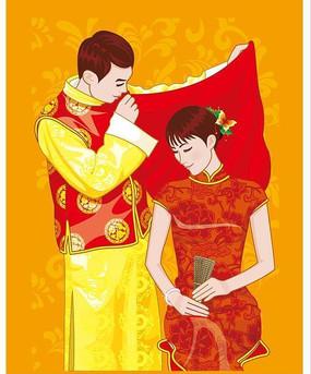 中国古装新郎新娘对拜矢量素材
