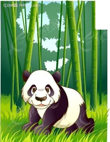 熊猫竹林简笔画情景画