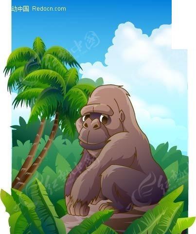丛林猩猩矢量图_陆地动物