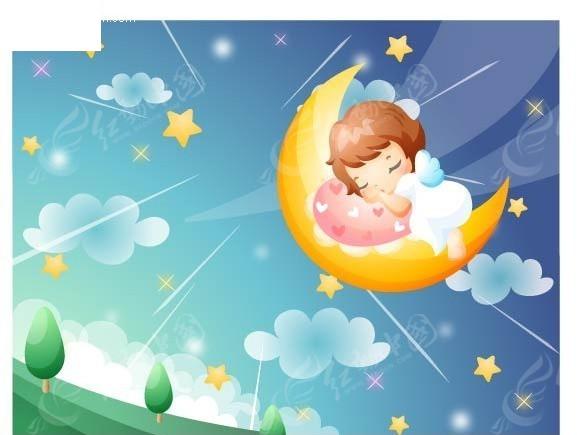 躺在月亮上睡觉的小女孩矢量素材图片