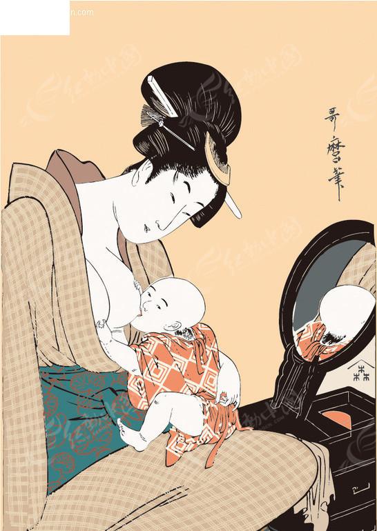 喂小孩奶的日本女人图片 竖