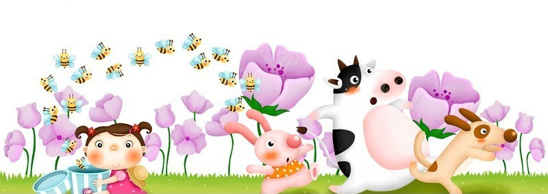 奶牛 紫色花  蜜蜂  小孩 卡通画 卡通人物 漫画人物 psd分层素材