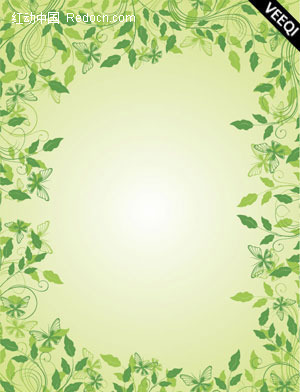 植物绿色叶子藤蔓花藤边框