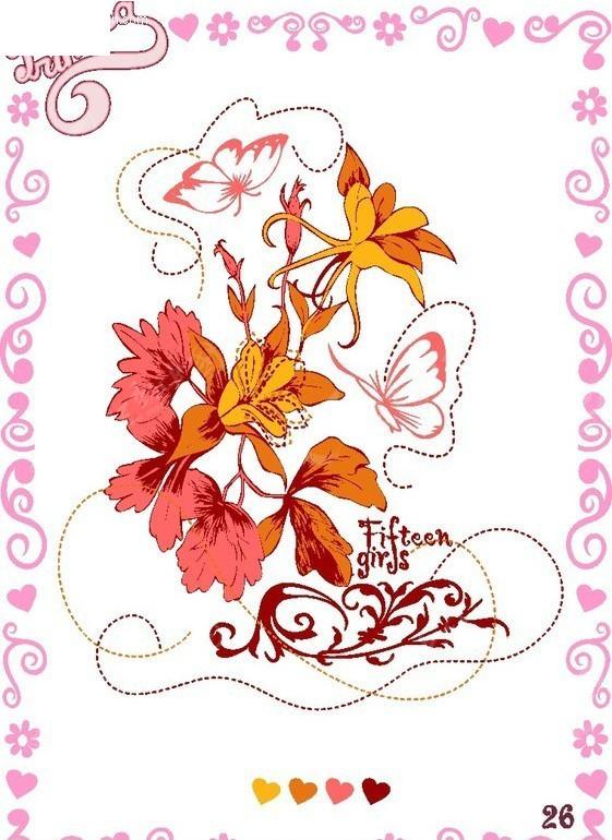 艺术 花纹 可爱 潮流 时尚 欧式 卡通 t恤图案 花纹 艺术文字 印花