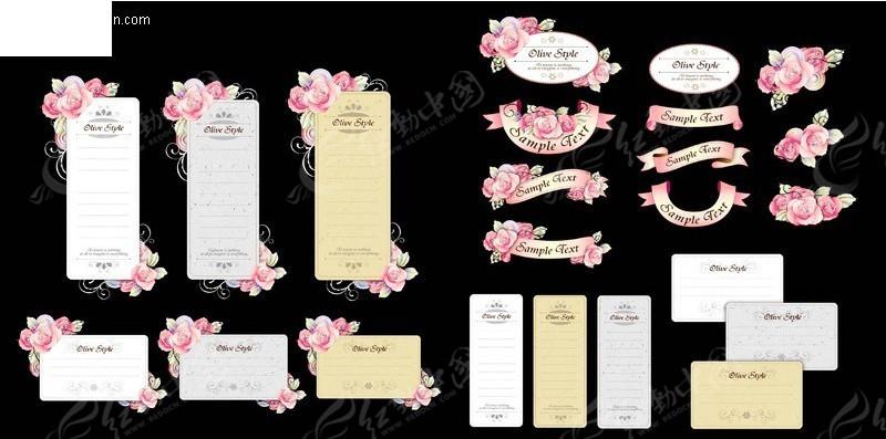 丝带卡片与手绘花卉