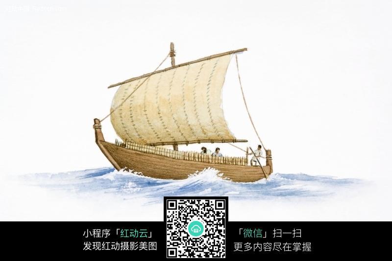 手绘插图-大海上的帆船图片