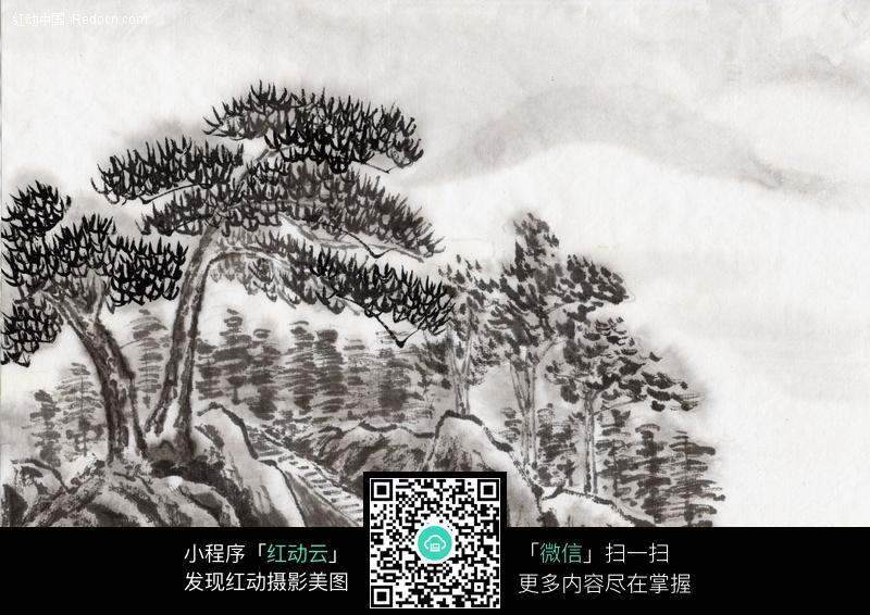 水墨画松树图片