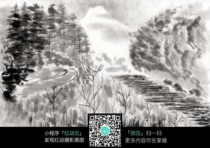 水墨画树木图片