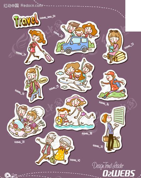 卡通人物t恤绣印花图案 卡通人物标志图形设计 绿色ok可爱卡通人物