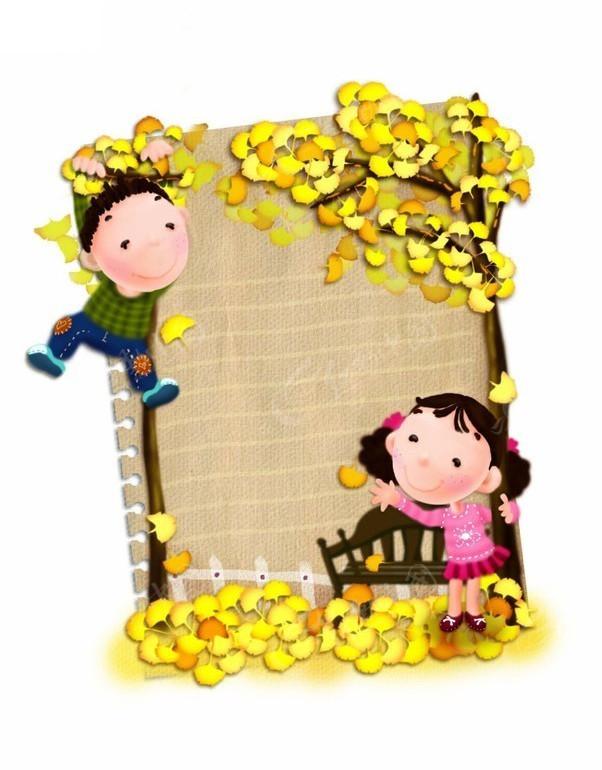 卡通儿童和银杏树图片