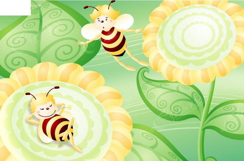 蜜蜂 太阳花 向日葵 卡通蜜蜂 卡通人物 卡通人物图片 漫画人物 人物