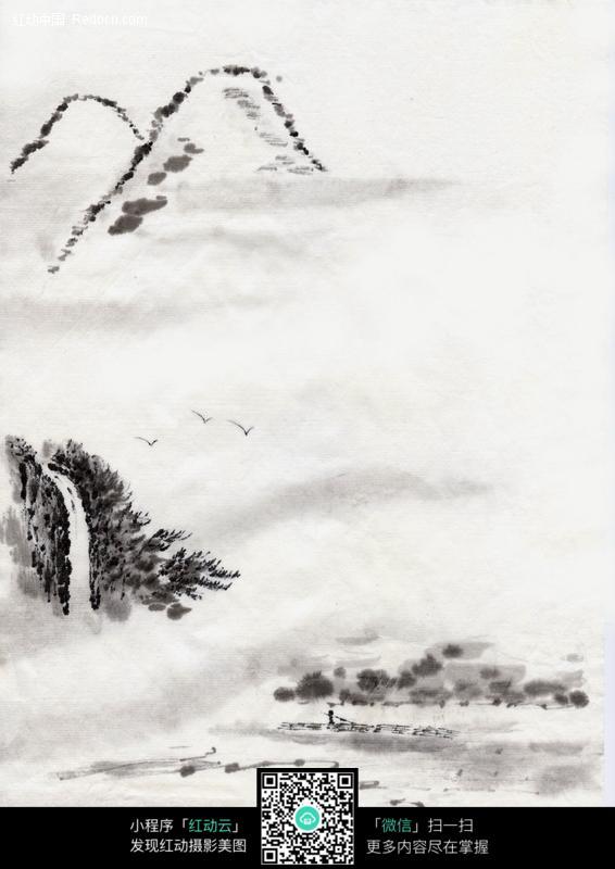 山水瀑布小船水墨画图片