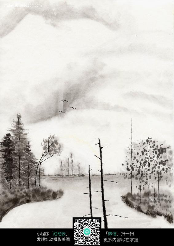 山水树木水墨画图片
