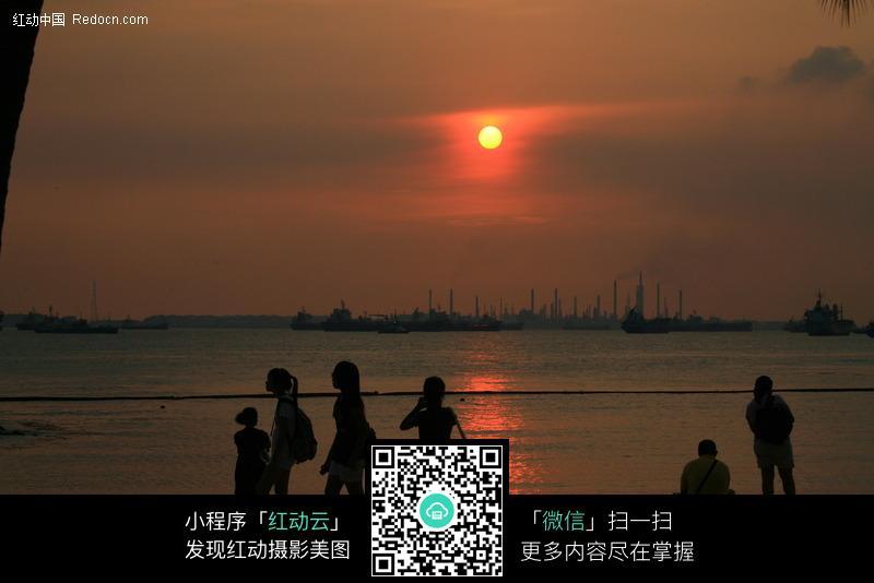 夕阳时分海边风景图片免费下载_红动网