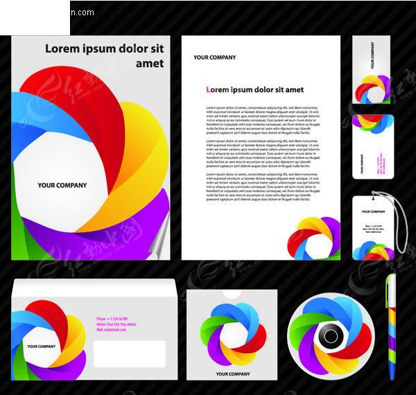 免费素材 矢量素材 广告设计矢量模板 vi设计 五彩斑斓的企业vi模板图片