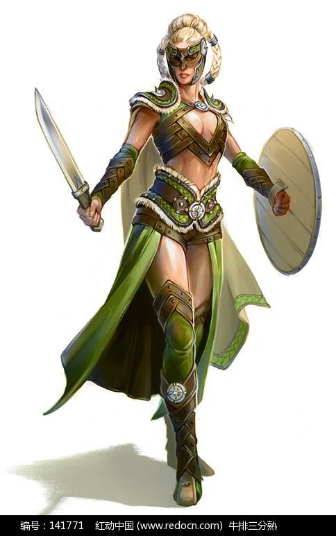 金发美女战士-游戏人物造型绘画欣赏