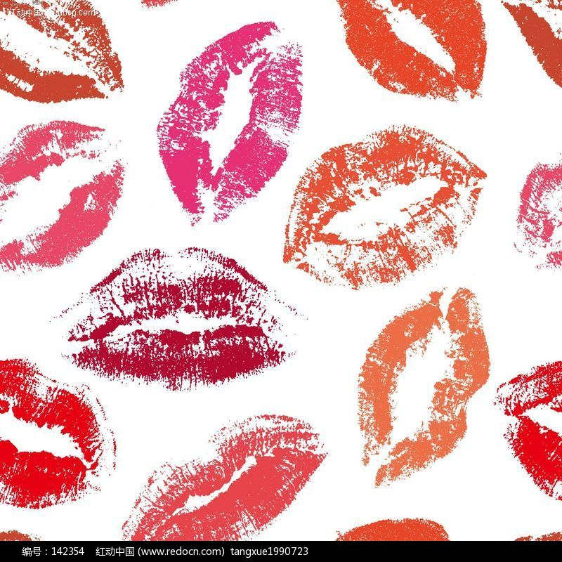 粉色唇印手绘壁纸