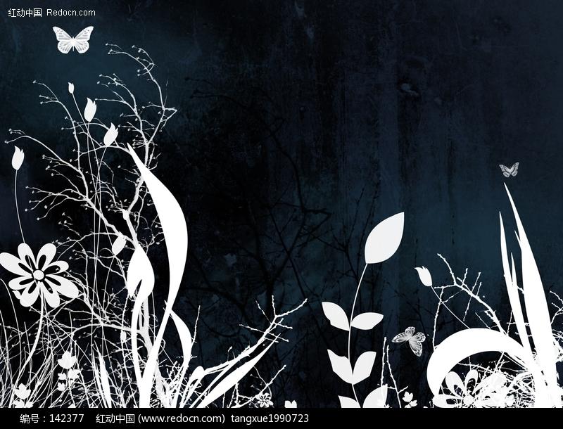 矢量黑白花朵植物背景