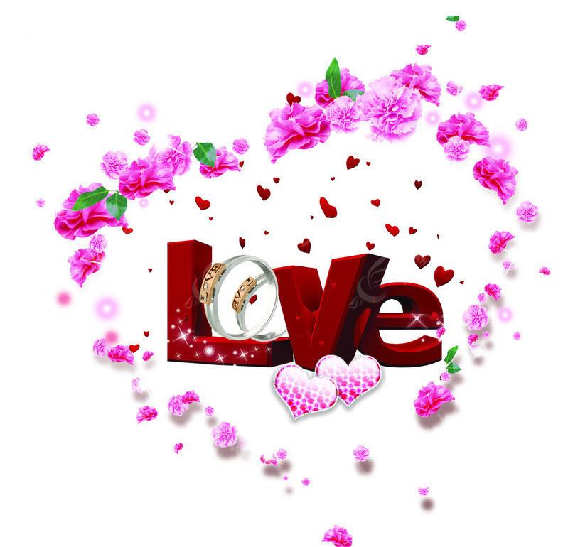 立体love字 花朵心型 心形 鲜花 花环 心型饰品 情侣戒指 绿叶 树叶