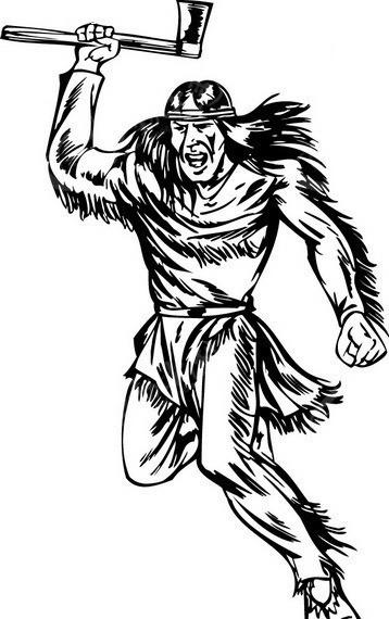 手握斧头的土著人图片