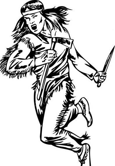 手握匕首和斧头的土著人图片