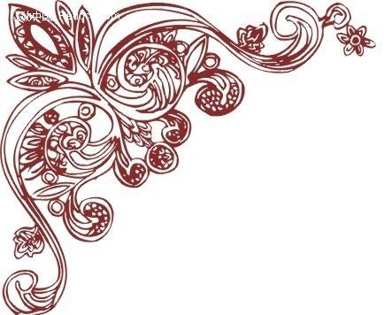 古典红酒花边图案矢量图