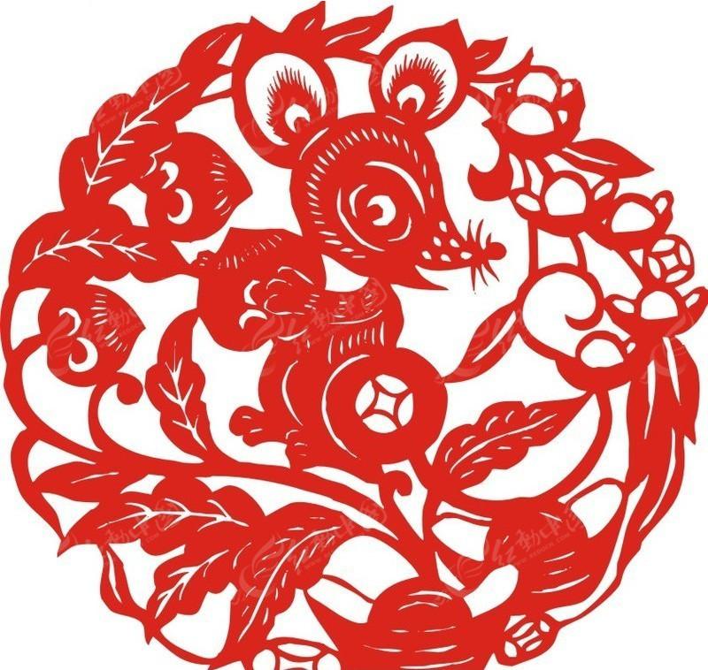 老鼠偷桃子剪纸-矢量文物|传统工艺品矢量图下载(编号:145867)