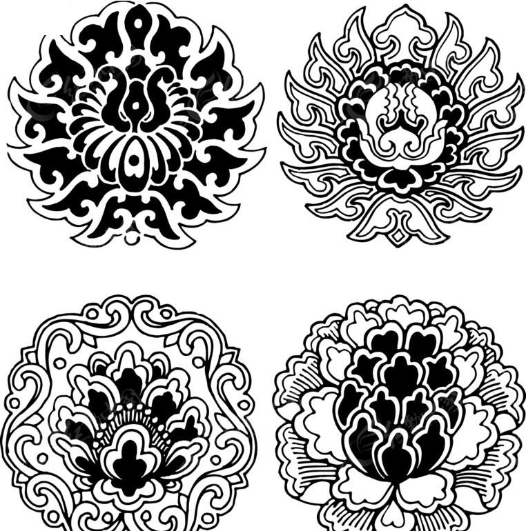 古典花边 花边素材 矢量素材 中国经典纹样素材  圆形图案 传统图案图片