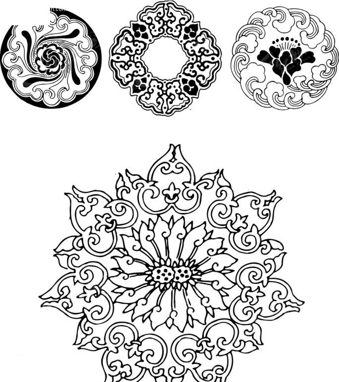 圆形图形 花纹素材 花边 吉祥团花 古典花纹 古典花边 花边素材 矢量