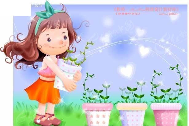 抱着花盆的卡通小女孩