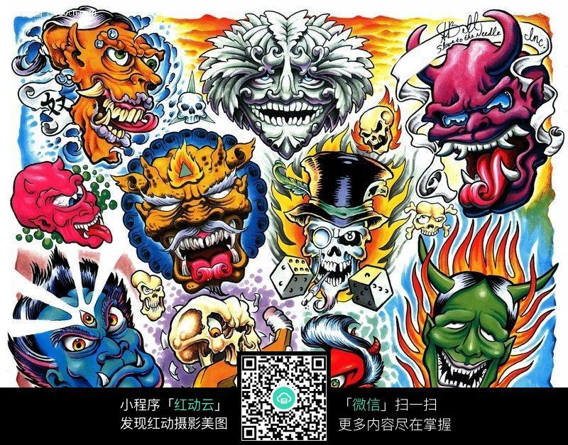 鬼怪彩色手绘纹身图案图片