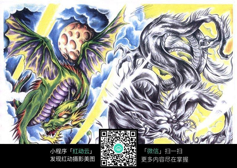飞龙彩色手绘纹身图案
