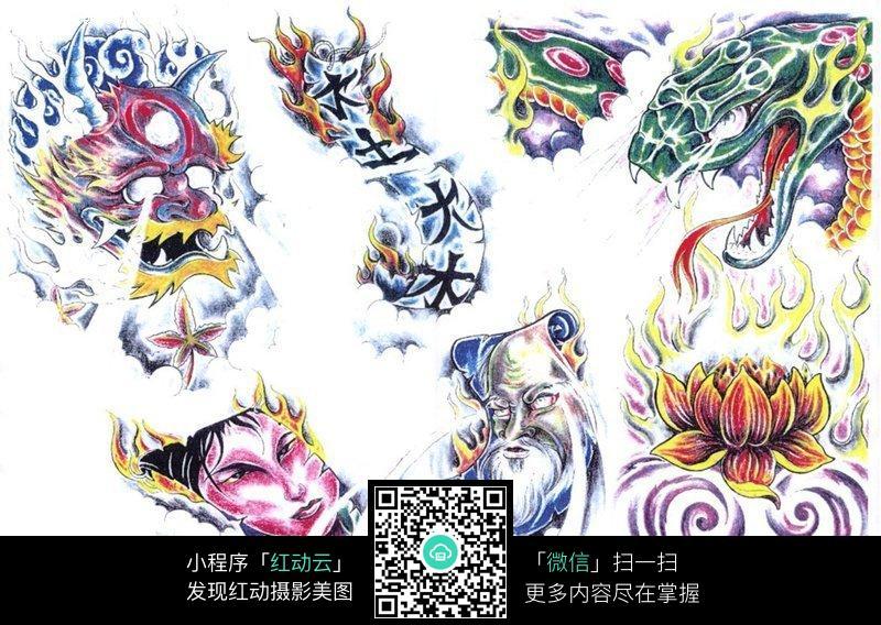 大蟒蛇彩色手绘纹身图案图片