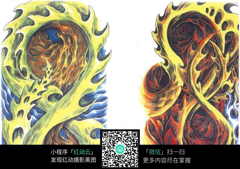 彩色怪物手绘纹身图案图片