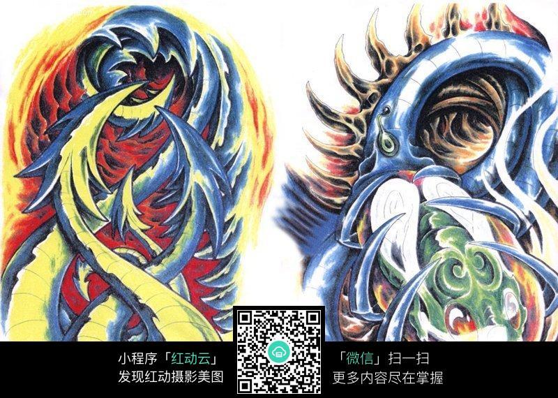 彩色怪物手绘纹身图案