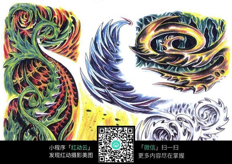 怪物彩色手绘纹身图案