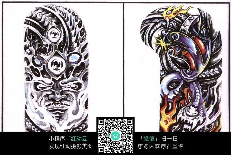 魔鬼彩色手绘纹身图案