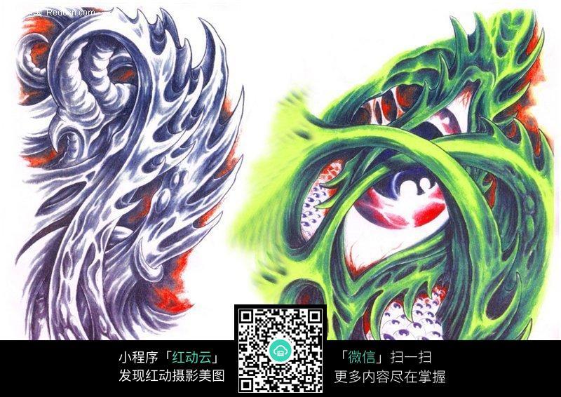 恐怖之眼彩色手绘纹身图案