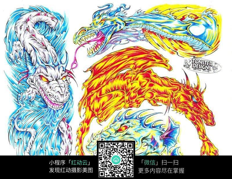火龙和水龙彩色手绘纹身图案