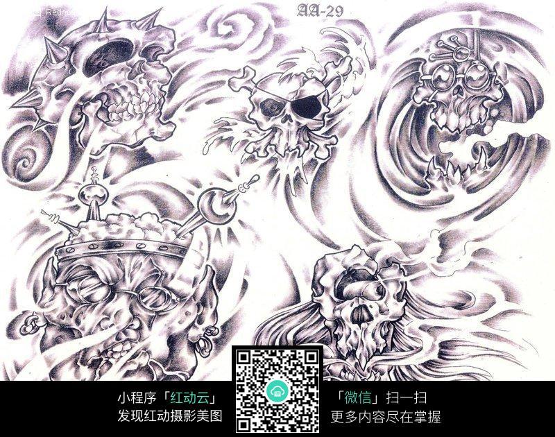 骷髅头手绘纹身图案草稿图片
