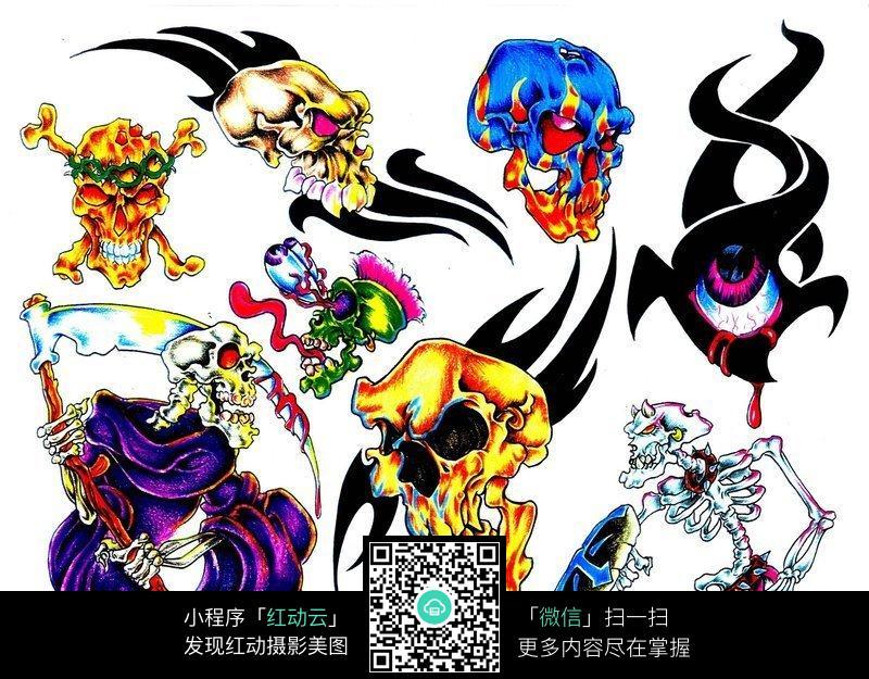 死神骷髅彩色手绘纹身图案图片