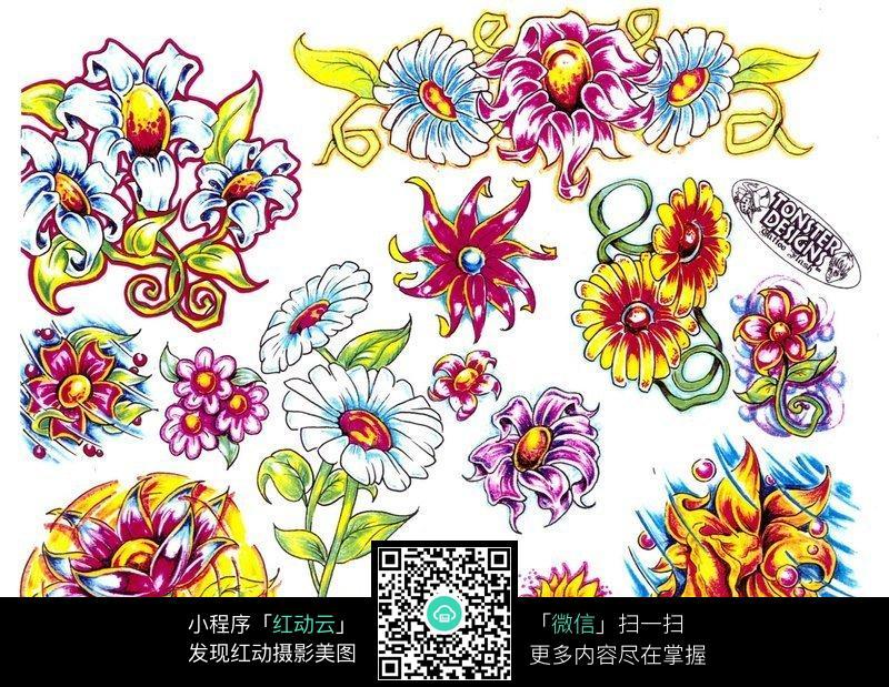 鲜花彩色手绘纹身图案图片