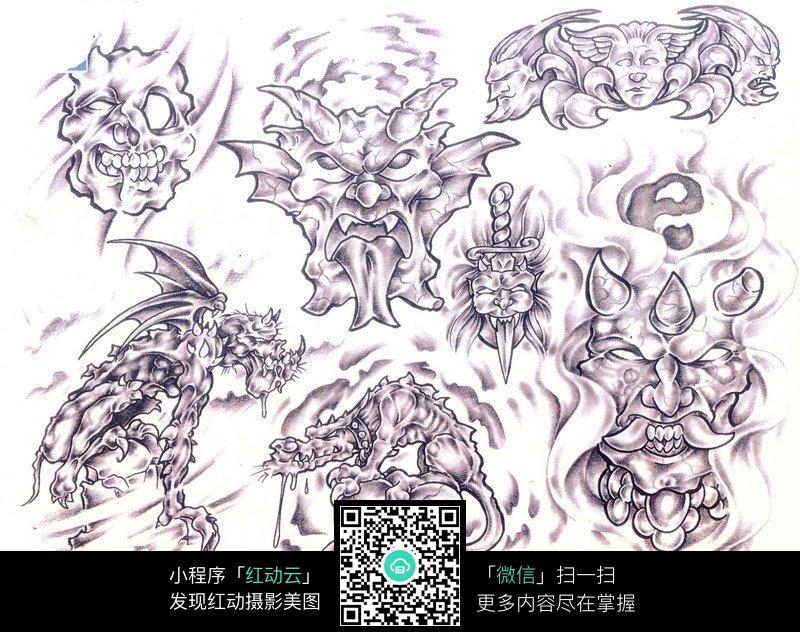 鬼怪手绘纹身图案草稿图片