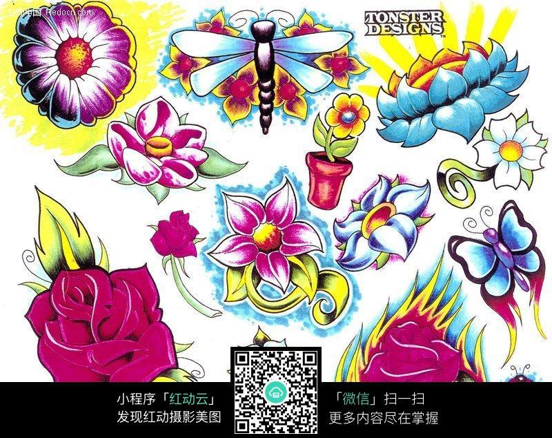 花卉鲜花彩色手绘纹身图案