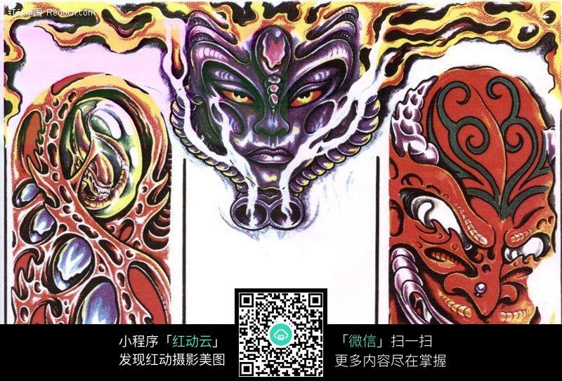 恶魔彩色手绘纹身图案