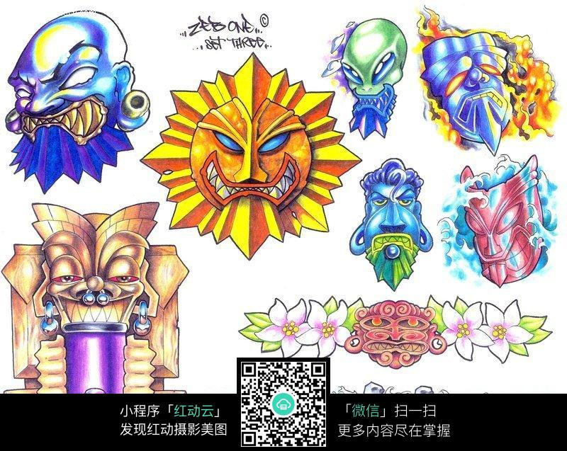 手绘抽象太阳神面具图案 石像手绘纹身图案 手绘抽象面具图片 彩色